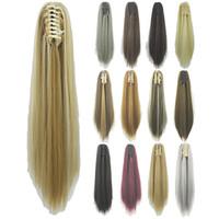 extensiones de cabello clip de calidad al por mayor-ZF de calidad superior 15 colores Clip de garra Cola de caballo 55 CM 130g Pieza de cabello Extensiones de cabello sintético largo y recto Mujeres Moda