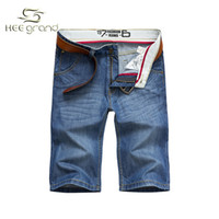 Wholesale Hot Jeans Men S Shorts - Wholesale-2015 Hot Selling Men's Shorts Jeans Summer Knee Length Regular Casual Straight Washed Cotton Shorts For Man Wholesale MKD610