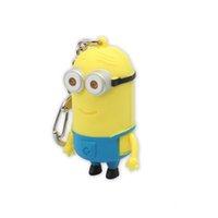 Wholesale Toys Outdoor Chain - Small Minions Despicable Me Cartoon Pendant Keychain 3D Eye Keychain Outdoor Flashlight LED Sound for Children Toys Two Eyes One Eyes Choose