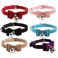 Wholesale Dog Cats Collars - Kitten Velvet Bow Tie Safety Lovely Adjustable PU Leather Bowknot Bell Cat Dog Necklace Comfortable Puppy Collar Pet Supplies [FS01054*10]