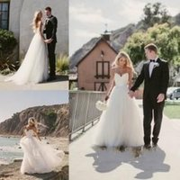 Wholesale Sweetheart Lace Sweep Train Belt - 2015 Wedding Dresses Beach Bridal Gowns with Spaghetti Straps A Line Summer Wedding Gowns with Belt Lace Bodice Tulle Long Party Dresses