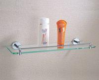 Wholesale Bathroom Corner Glass Shelf - Lavatory Bathroom Corner Tempered Glass Shelf 8MM-Thick Wall Mount Rectangular with Chrome Plated Brass,20.5 Inches