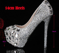 Wholesale High Heels Diamond Crystal Ladies - Silver Custom Make plus size high heel crystals and rhinestones bridal wedding Pumps shoes Diamond Lady Shoes Party Prom High Heels