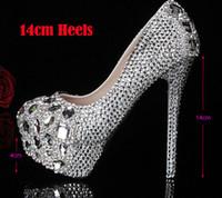 elmas gümüş balo ayakkabıları toptan satış-Gümüş Özel Yapmak artı boyutu yüksek topuk kristaller ve rhinestones gelin düğün ayakkabı Pompaları Elmas Bayan Ayakkabı Parti Balo Yüksek topuklu