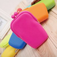 Wholesale Coin Wallet Rubber - Women Rubber Silicone Cosmetic Makeup Bag Coin Purse Wallet Cellphone Case Pouch Eyeglass Pouch silicone Coin Purses Pouch Bag