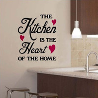 Wholesale Quotation Sticker - 1pc THE KITCHEN IS THE HEART OF THE HOME Quotation PVC Wall Sticker Art Decor Kitchen Decal Drop Shipping HG-WS-1533