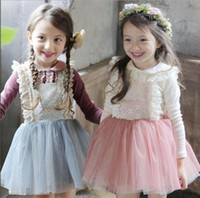 Wholesale korean lace formal dress - Kids Girls Dress Tulle Lace Bow Party Dresses Baby Girl TuTu Princess Dress Babies Korean Style Suspender Dress +T-shirt 2PCS Kids clothing