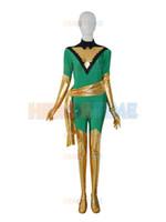 traje x phoenix hombres al por mayor-Jean Grey Deep Green Phoenix X-men Disfraz de superhéroe lycra spandex Disfraz de Phoenix Sin capucha