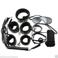 Wholesale bondage whips mask - Black Kit Bondage Set Whip Ball Handcuffs Footcuffs Rope Neck Collar Mask