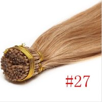 Wholesale 27 I Tip Hair - Blond #27 brazilian remy keratin hair extensions 1g pcs 7A grade pre-boned i tip human hair 300g pack full head free shipping