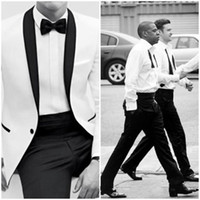 Wholesale Cheap Fitted Shirts Men - 2014 Classic Black and White Bestmen Groom Tuxedos Formal Suits Business Men Wear(Jacket+Pants+Tie+Shirt) Free Shipping Cheap