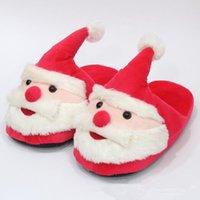 Wholesale Kids Christmas Slippers - 28cm Santa Claus Slippers Christmas Soft Home Slippers Xmas Indoor Unisex Shoes Christmas Plush Kids Slipper 2pcs pair CCA8244 50pairs