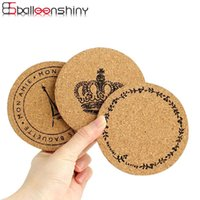 Atacado- BalleenShiny Round Cork Wood Coasters Table Cup Drink Mat Garland Tower Crown Soft Non-Slip Coffee Dining Pads Ferramentas de cozinha