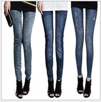 Wholesale Cheap Girls Black Leggings - 20 Style Leggings for Big Girls Leggings Imitation Jeans Cheap Ripped Denim Spandex Graffiti Printed Legging New Wholesale Leggings K6092