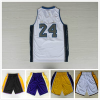 Wholesale Signature White - basketball Jersey 24 Black Blue Purple White Yellow shorts Stitched # 24 white signature Jerseys Basketball Free fast Shipping Size S--XXL