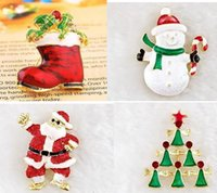 Wholesale Tin Tie Bags Wholesale - Christmas brooches pins gold plate Christmas tree snowman Santa Claus jingle bells brooch tie-pin scarf hat bag accessories lady party gift