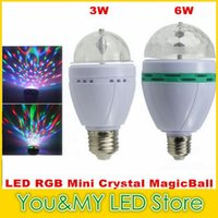 Edison2011 Retail 3W 6W E27 RGB iluminação Full Color LED Crystal Stage Light Auto Rotating Stage DJ lâmpada mini Stage Light Bulb
