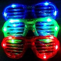 Wholesale Sunglasses Carnival - Wholesale-Wholesale Christmas Gifts Blinds LED Luminous Glasses Blinking Decoration Lights Sunglasses Carnival Rave Party Xmas Supply 2015