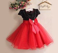 Wholesale American Lantern Lighting - Flower Girl Dress Paillette Children Wedding Party Princess Dresses Ribbon Ball Gown Big Bowknot Kids Formal Dress 1pcs Retail TR32