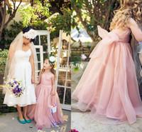 organza junior nedime elbiseleri toptan satış-2019 Sevimli Çiçek Kız Elbise Düğün İçin Allık Organze Kanat Bow Jewel A-Line Kat Uzunluk Ucuz Çocuklar Örgün Elbise Genç Nedime Elbisesi