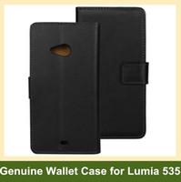 fälle für lumia großhandel-Großhandelsneu kommen echtes Leder-Mappen-Schlag-Abdeckungs-Telefon-Kasten für Microsoft Lumia 535 RM-1089 freies Verschiffen an