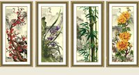 oil cloth orchid kits - 5D DIY Magic cube Diamond Painting Cross Stitch Vertical version Plum Orchid Bamboo Chrysanthemum Kits flowers Home Decoration