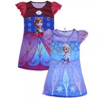 Wholesale Tutus Girls Night - Toddler Girls Costume Frozen Elsa Anna Princess Pajamas Night Gown Shirt Dresses Baby Dress Princess Skirt Lace Flower Tutu Dress