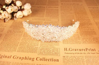 ingrosso cappelli da sposa-Abbagliante corona per la sposa Accessori moda per matrimoni Perline Copricapo per ragazze Festa Reale Immagine Disponibile Tiara nuziale CPA495