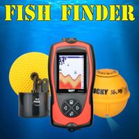 Wholesale Sonar Equipment - Wireless Wired 90 Degree Sonar Fish Finder Light Lure Sensor Alarm System Deeper Fishfinder Sea river lake Fishing Radar Alarm Equipment