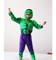 Wholesale Super Heroes Hulk Muscle Suits Kids Boys Girls Halloween Cosplay Clothes Hulk Costume Suits Super Heroes Clothes sizes in stock