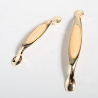 Wholesale Golden European Handles - 2016 new European style thick golden amber Zinc alloy door handle cabinet knobs kitchen drawer pull pitch row 96 128mm #332