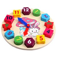Wholesale Wooden Blocks Free Shipping - Baby Kids Wooden Toys Digital Geometry Clock Educational Toy Blocks Toys Gifts good quality and Free Shipping