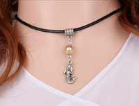 Wholesale Mermaid Choker - Vintage Silver little Mermaid &Glass Charms Collar Leather Choker Necklace&Pendants For Women Jewelry Accessories DIY 10PCS S443