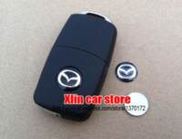 Wholesale Auto Emblem Adhesive - 2pcs Mazda 14mm car Remote key fob logo emblem sticker Auto key Shell badge Self-adhesive Free shipping