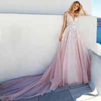 Wholesale embellished romantic wedding dresses resale online - bridal sleeves deep v neck heavily embellished bodice romantic pretty pink color a line wedding dress keyhole back