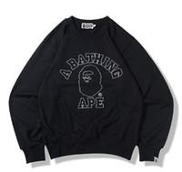 Wholesale Japanese Fashion Winter Coat - Japanese tide brand crewneck sweater knit ape print pattern terrycloth sweater autumn and winter thin coat shark