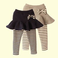Wholesale Skirt Set Tight - 2016 New girl striped print legging Child Girl Skirt pants Cake skirt girl baby Girls pants Children leggings Skirt Kids Sets Clothes