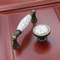 perillas del gabinete de cerámica roja al por mayor-Trigo antiguo vintage sólido crack rojo mármol de una sola puerta gabinete de cocina gabinete tirador muebles manejar 128mm # 286