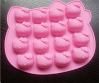 Wholesale 3d Cake Molds - Hello kitty silicone Chocolate mold microwave oven pan cake Molds jelly candy mould Silicon soap 3D bakeware ice cream dish