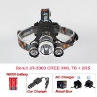 Wholesale Car Led Lights High Low - BIG SALE 3leds headlamp +2*18650 battery +Charger +Car charger CREE XM-L XML T6 LED Headlight Light Head lamp