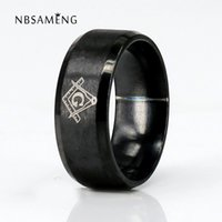 Atacado- Vintage 316L Titanium Stainless Steel Men Ring Presentes de Natal Mason Freemasonry Masculino Retro Punk Black Brand Ring Jewelry