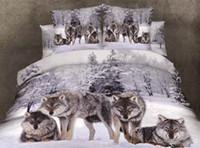 Wholesale Wolf Quilt Cover King Size - Wholesale-3d printed wolfs animals 100%cotton bedding sets 4pcs duvet quilt bed set covers queen king size bedclothes comforters bedsheet