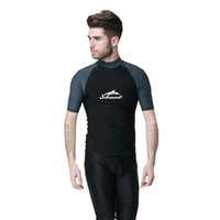 Wholesale Short Diving Suits - Wholesale-New Arrival Surf Wear For Men Diving Suit Beach Shirt Lycra High Quality Top Short Sleeve Snorkeling Jellyfish-Free Shipping