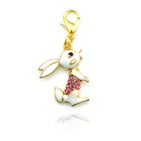 Wholesale Valentine Rabbit Gift - Valentines Gift! Fashion Floating Charm Alloy Lobster Clasp Golden Cute Rabbit Charms DIY Jewelry