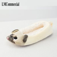 Wholesale ballet flats animal print - New Winter Indoor Slippers Plush Home Shoes dog Slippers for Grown Ups Unisex Warm Home slippers shoes women shoe Ballet shoes