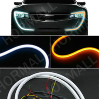 Wholesale Daytime Running Led Turn Signal - 60CM LED Flexible DRL Strip LED Daytime Running Lights With Turn Signal LED Tube Light Switchback DRL light White Yellow