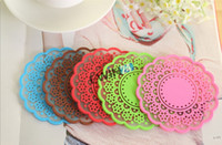 Wholesale Lace Cup Holders - new and high quality Lace Doily Coaster Colourful Silicone Cup Drinks Holder Mat Cute Gift 50pcs