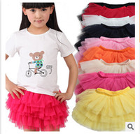 Wholesale Tutu Cotton Skirts For Babies - cotton lining 2015 newest baby girl tiered tulle Skirts Mini Skirt tutu Skirt Pleated skirts for girls babies clothes tutus for girls m64