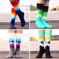 Wholesale Knee Boot Socks Wholesale - 1lot=12pairs=24pcs meias brand happy socks men socks Gradient Color Knee High British style brand cotton sports boot socks 2015 BY0000
