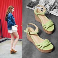 Wholesale Wedge Ankle Strap Platform Sandal - 2016 Green White Plaited Strap Summer Sandals Women High Platform Wedge Shoes 9cm Size 35 to 39